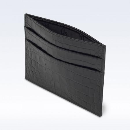 Black Croc Leather Slimline Card Slip Wallet