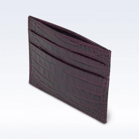 Purple Croc Leather Slimline Card Slip Wallet