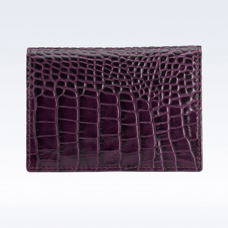 Purple Croc Leather Travel Card Holder