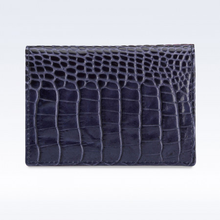 Navy Croc Leather Travel Card Holder