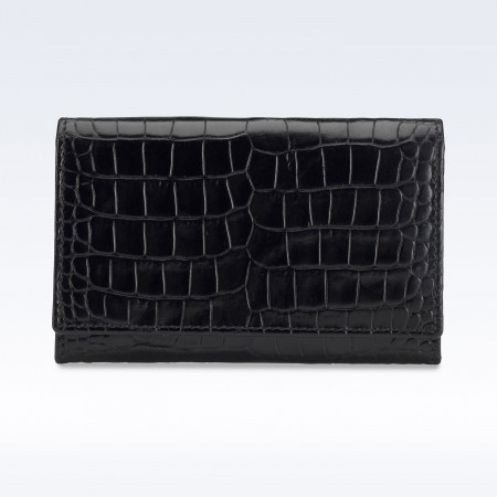 Black Croc Leather Business Card Holder