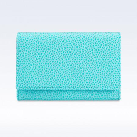 Aqua Caviar Leather Business Card Holder