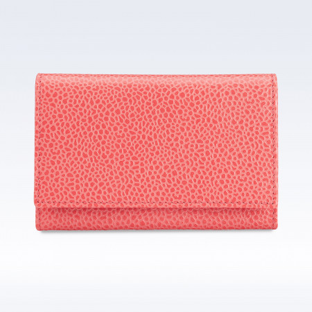 Coral Caviar Leather Business Card Holder