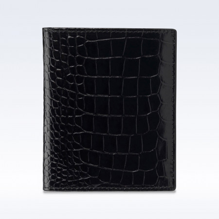 Black Croc Leather Slimline Wallet