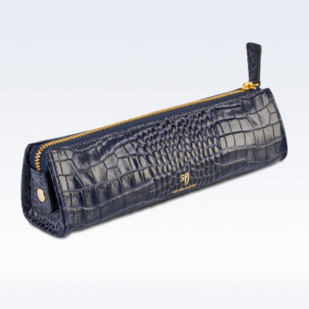 Navy Croc Leather Cosmetics or Stationery Case