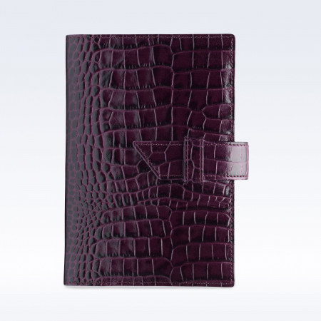 Purple Croc Leather A6 Journal with Replaceable Notebook