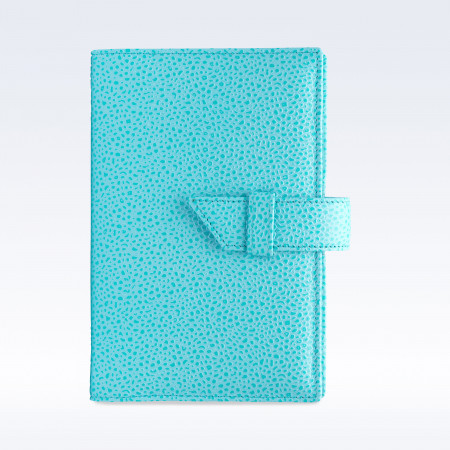 Aqua Caviar Leather A6 Journal with Replaceable Notebook