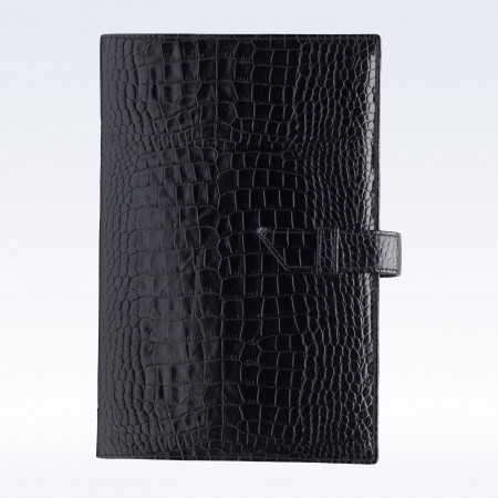 Black Croc Leather A5 Journal with Replaceable Notebook