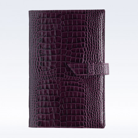 Purple Croc Leather A5 Journal with Replaceable Notebook