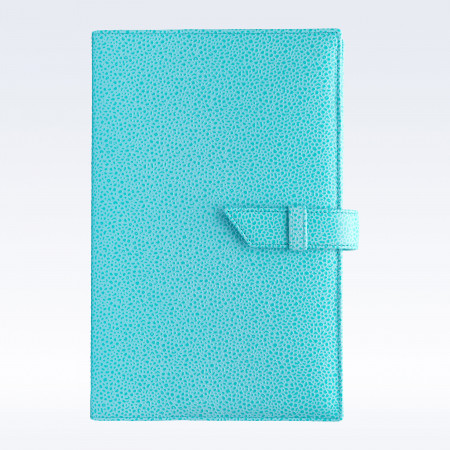 Aqua Caviar Leather A5 Journal with Replaceable Notebook