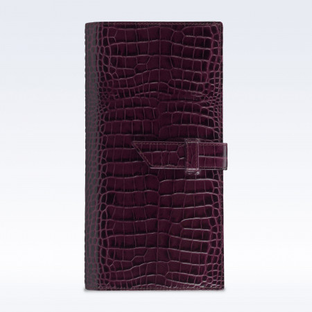 Purple Croc Leather Deluxe Travel Wallet with Strap