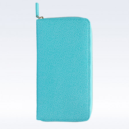 Aqua Caviar Leather Zipped Travel Document Holder