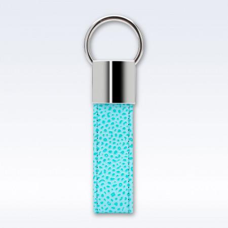 Aqua Caviar Leather Looped Key Fob