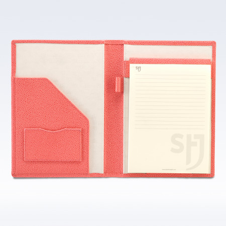 Coral Caviar Leather Executive A5 Folder