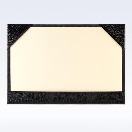Black Croc Leather A3 Desk Blotter
