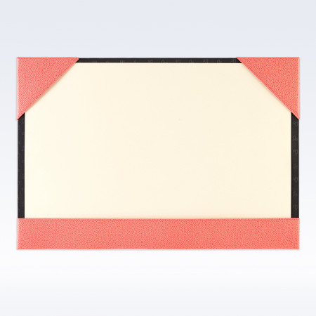 Coral Caviar Leather A3 Desk Blotter
