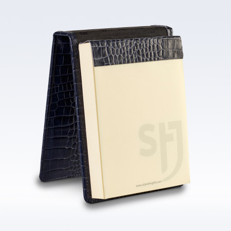 Navy Croc Leather Desk Jotter Note Pad