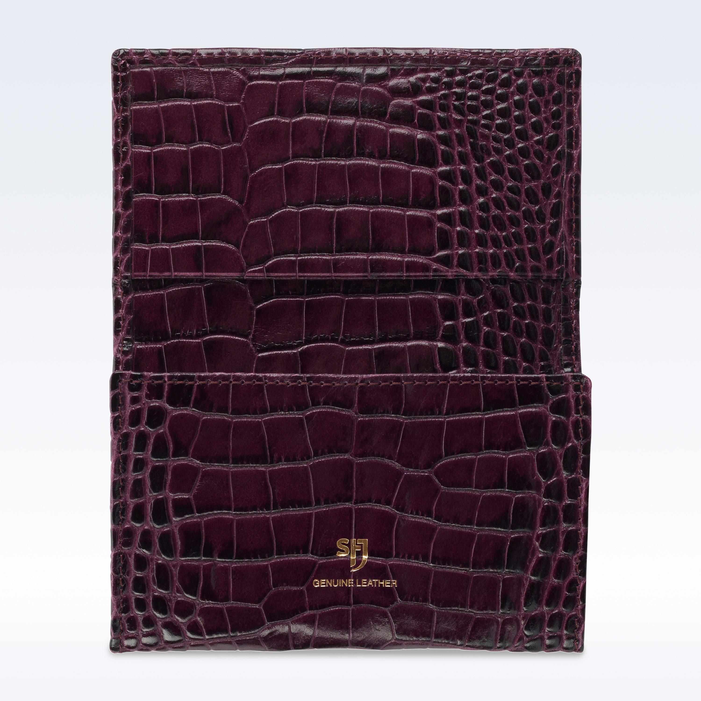 purple croc leather business card holder stj leather