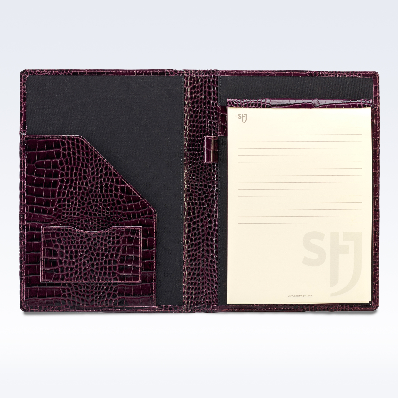 purple croc leather executive a5 folder