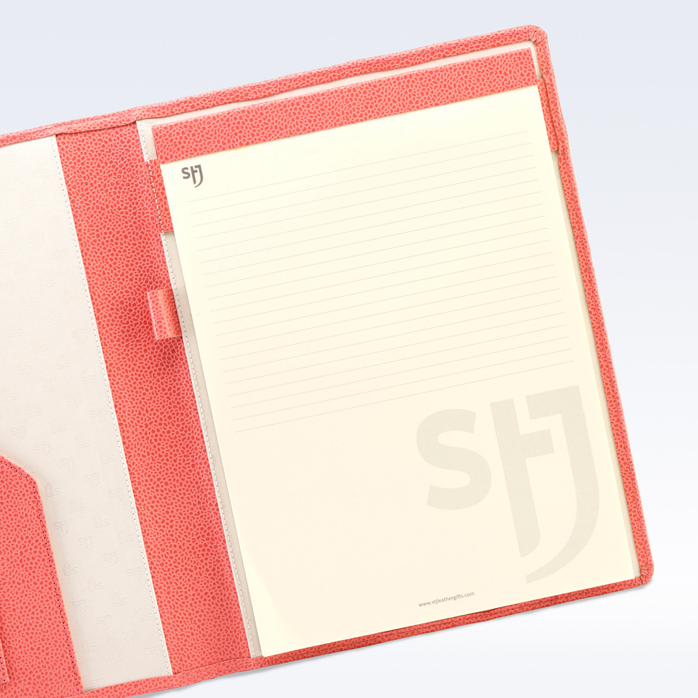 Coral Caviar Leather Trimmed A4 Refill Pad Stj Leather
