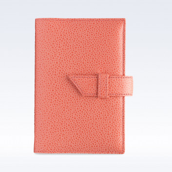 Coral Caviar Leather A6 Journal with Replaceable Notebook