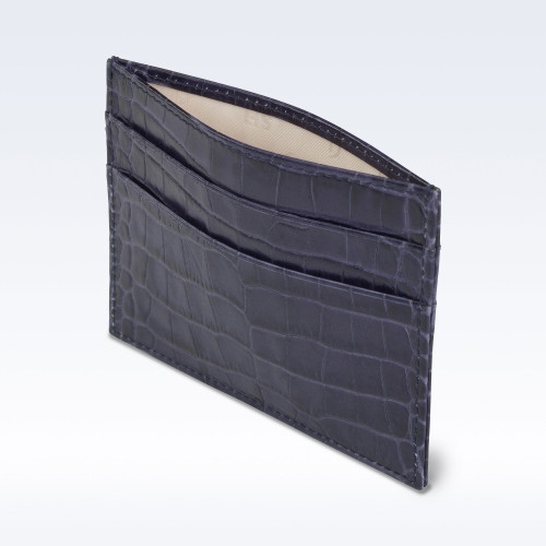 Navy Croc Leather Slimline Card Slip Wallet