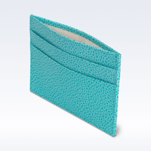 Aqua Caviar Leather Slimline Card Slip Wallet