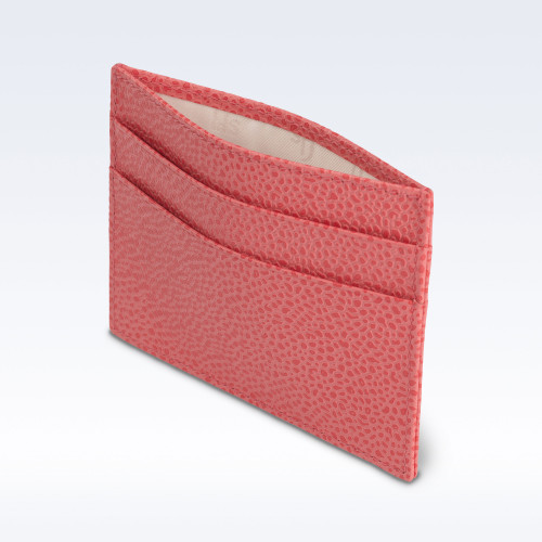 Coral Caviar Leather Slimline Card Slip Wallet