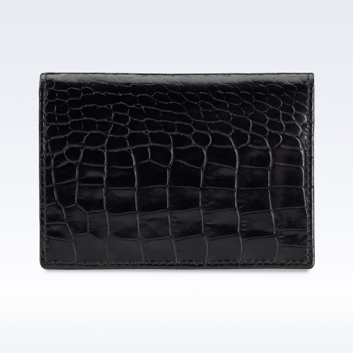 Black Croc Leather Travel Card Holder