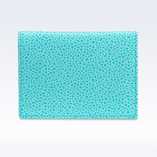 Aqua Caviar Leather Travel Card Holder