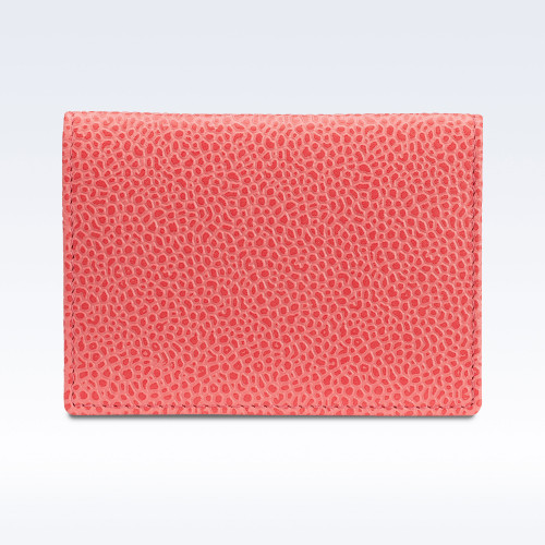 Coral Caviar Leather Travel Card Holder