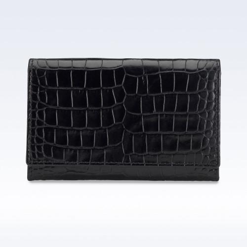 Black Croc Leather Business Card Holder