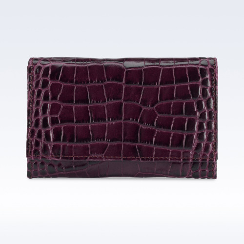 Purple Croc Leather Business Card Holder