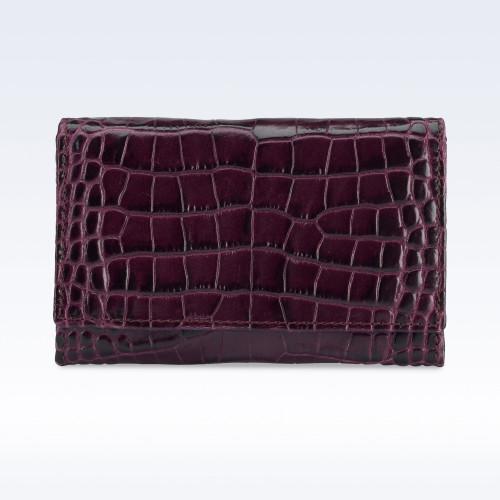 Purple Croc Leather Business Card Holder
