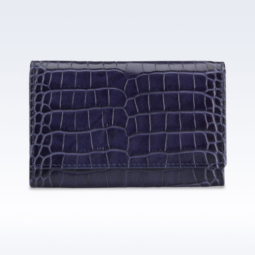 Navy Croc Leather Business Card Holder