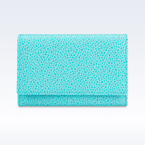 Aqua Caviar Leather Business Card Holder