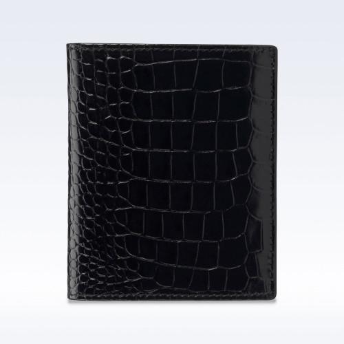 Black Croc Leather Slimline Wallet
