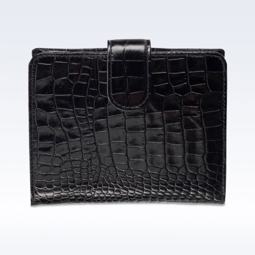 Black Croc Leather Sophia Ladies Purse