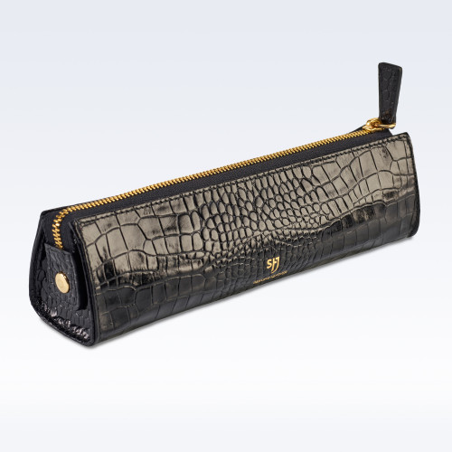 Black Croc Leather Cosmetics or Stationery Case