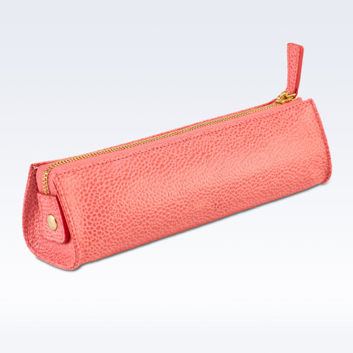 Coral Caviar Leather Cosmetics or Stationery Case