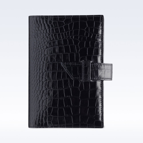 Black Croc Leather A6 Journal with Replaceable Notebook