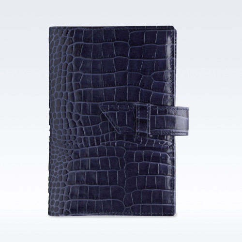 Navy Croc Leather A6 Journal with Replaceable Notebook