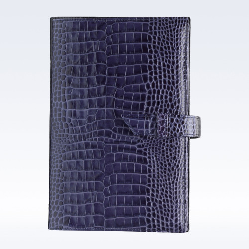 Navy Croc Leather A5 Journal with Replaceable Notebook