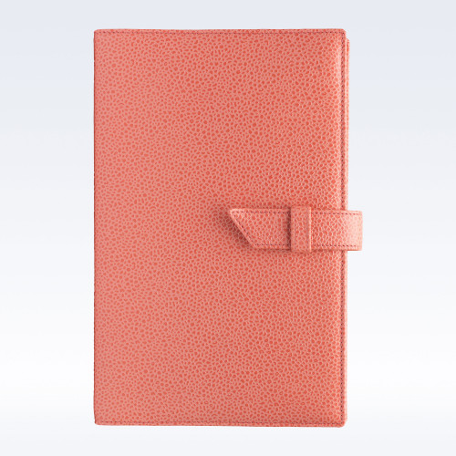 Coral Caviar Leather A5 Journal with Replaceable Notebook