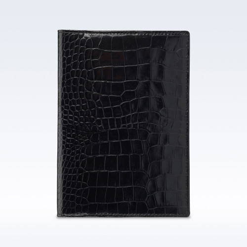 Black Croc Leather Travel Passport Wallet