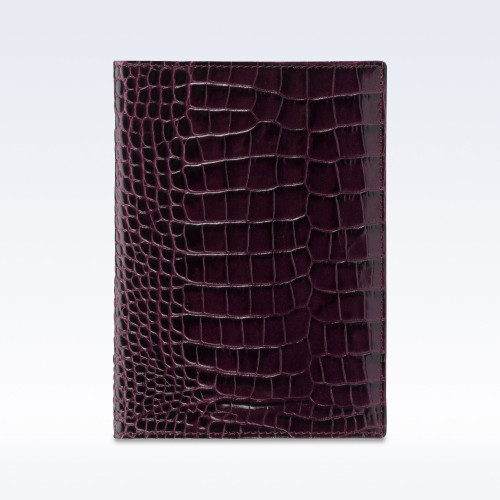 Purple Croc Leather Travel Passport Wallet