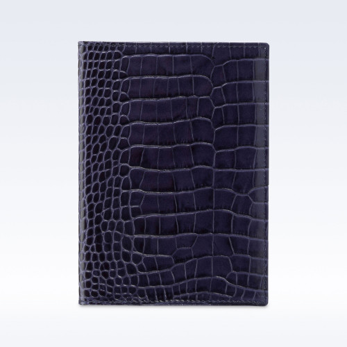 Navy Croc Leather Travel Passport Wallet