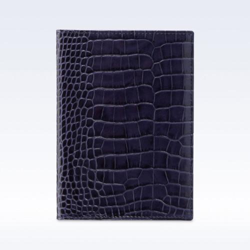 Navy Croc Leather Travel Passport Wallet