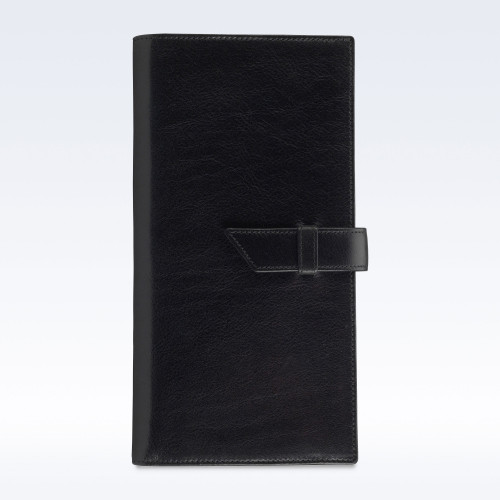 Black Richmond Leather Deluxe Travel Wallet with Strap