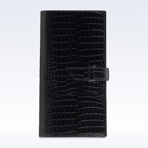 Black Croc Leather Deluxe Travel Wallet with Strap